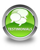 Testimonials (comments icon) glossy green round button Stock Image