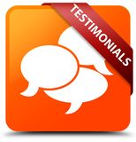Testimonials (comments icon) orange square button red ribbon in Royalty Free Stock Photos