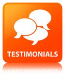 Testimonials (comments icon) orange square button Royalty Free Stock Images