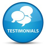 Testimonials (comments icon) special cyan blue round button Stock Image