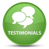 Testimonials (comments icon) special soft green round button Stock Photos