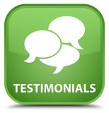 Testimonials (comments icon) special soft green square button Stock Photography