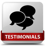 Testimonials (comments icon) white square button red ribbon in m Stock Photography