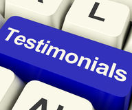 Testimonials Computer Key Showing Recommendations And Tributes O Royalty Free Stock Images