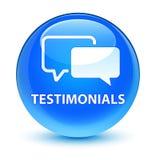 Testimonials glassy cyan blue round button Stock Photo