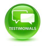 Testimonials glassy green round button Stock Images