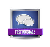 Testimonials glossy blue reflected square button Royalty Free Stock Image