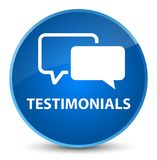 Testimonials elegant blue round button Stock Photography