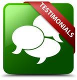 Testimonials komentarzy ikony zieleni kwadrata guzik Zdjęcie Stock