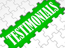 Testimonials Puzzle Showing Credentials And Recommendations Stock Image
