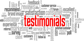 TESTIMONIALS Tag Cloud (customer service satisfaction quality) Stock Photos