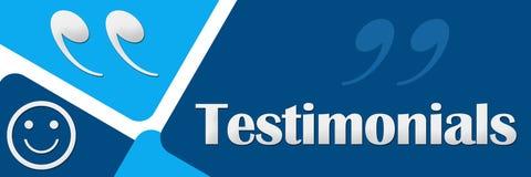 Testimonials Two Blue Squares Stock Photo