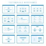 Testimonials Wireframe składniki dla pierwowzorów royalty ilustracja
