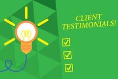 Testimonianze del cliente del testo di scrittura di parola Concetto di affari per il carattere di certificazione scritto di demon royalty illustrazione gratis