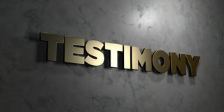 Free Testimony - Gold Text On Black Background - 3D Rendered Royalty Free Stock Picture Royalty Free Stock Images - 87911159