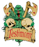 Testimony. Monster with some skulls in hands Royalty Free Stock Photos