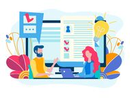 Testing for admission at work, recruiting concept, office conver royalty free illustration