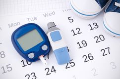 Testing blood glucose level. Royalty Free Stock Images