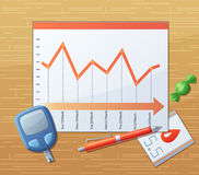 Testing blood sugar level, glucose meter, diabet. Cartoon vector illustration Royalty Free Stock Images