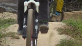 Testing BMX circuit racing track before challenge, bicycles ride. Stock footage stock video
