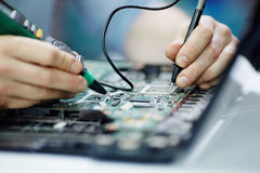 Free Testing Circuit Board With Multimeter Stock Photo - 89039610