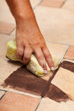 Testing the color of joint on ceramic floor tiling Stock Photos