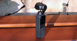 Testing DJI Osmo Pocket Camera Outdoors. Roquebrune-Cap-Martin, France - February 17, 2019: Testing DJI Osmo Pocket Gimbal Camera Outdoors, The Smallest 3-Axis stock footage