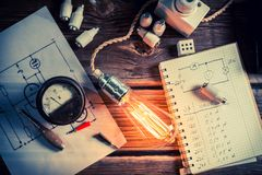 Testing Edison light bulb in the vintage laboratory Stock Image