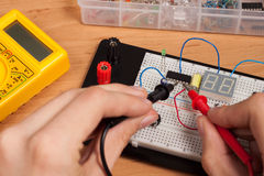 Testing electrical circuit on breadboard Stock Photos