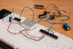 Testing electrical circuit on breadboard Royalty Free Stock Image