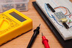 Free Testing Electrical Circuit On Breadboard Royalty Free Stock Image - 26701836