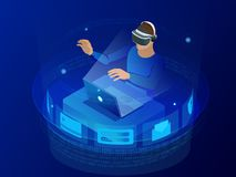 Testing games concept. Isometric man wearing virtual reality headset and gesturing while sitting at his desk in creative vector illustration
