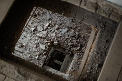 The testing hole in the old house. Before reconstruction royalty free stock image