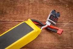 Testing lithium polymer battery Royalty Free Stock Photo