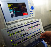 Testing of medical equipment. A medical equipment on blood transfusion is checked up before the use Royalty Free Stock Photos