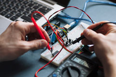 Testing of microcontroller close-up Royalty Free Stock Photography