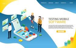 Testing mobile software landing page website vector template. Testing mobile software landing page website template. Vector isometric illustration. Mobile royalty free illustration