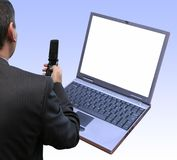 Testing new laptop Royalty Free Stock Photo