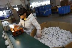 Testing newly made bulbs. An employee testing newly made bulbs stock photography