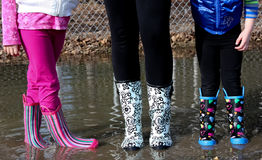 Testing out the new Galoshes Stock Photography