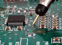 Testing on printed circuit board Stock Photo