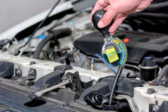 Testing the quality of antifreeze in a new car Stock Image