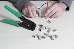 Testing a RJ45 connector Stock Photo