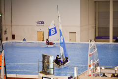 Testing Small Sailboat At Big Blue Sea Expo Stock Photography