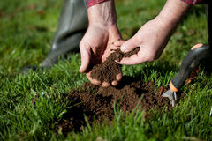Testing the soil. Royalty Free Stock Photography