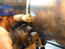 Testing of the welded joint X-rays. Radiography of weld. Preparation and assembly of the underwater gas pipeline to hold the works. Baltic Sea, Russia stock video footage