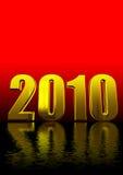 testo 3d 2010 su colore rosso e sul nero Fotografia Stock Libera da Diritti