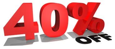 Testo 40% di promozione di vendita fuori Fotografia Stock