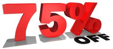 Testo 75% di promozione di vendita fuori Fotografia Stock Libera da Diritti