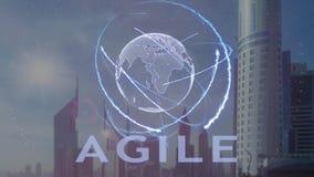 Testo agile con l'ologramma 3d del pianeta Terra contro il contesto della metropoli moderna illustrazione di stock
